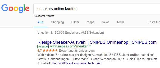 Screenshot Google AdWords Anzeige