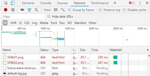404 Fehler mit Chrome Network finden